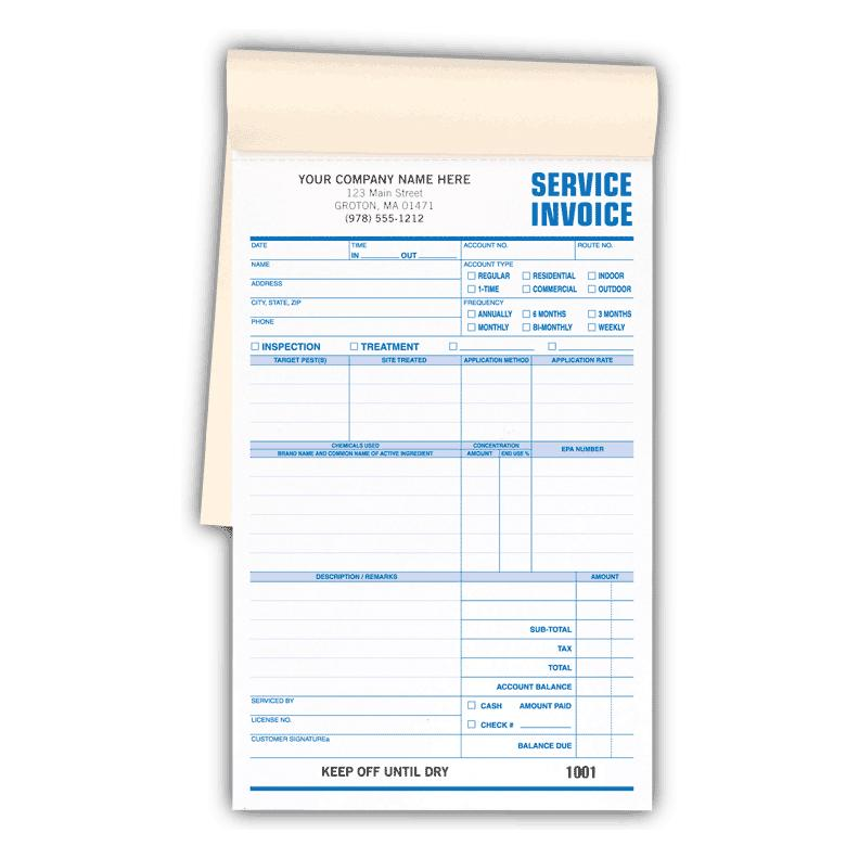 pest control service invoices booked