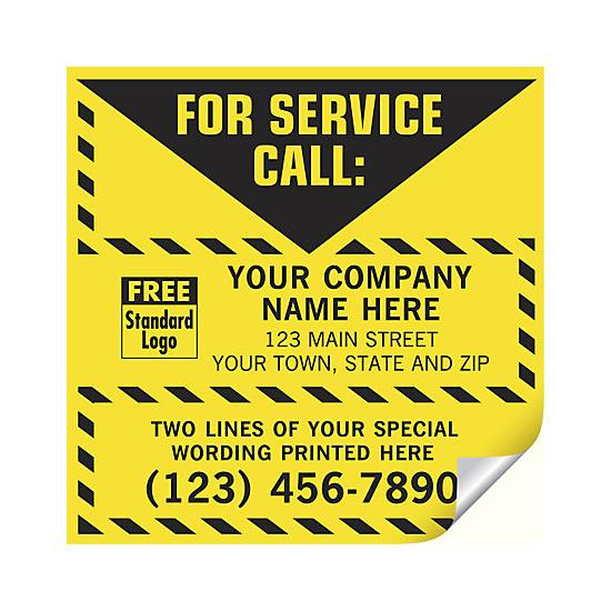 [Image: For Service Call Label, Yellow With Safety Border, Vinyl]