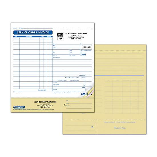 [Image: Repair Service Order Form, Printed with Claim Check & ID Tag]