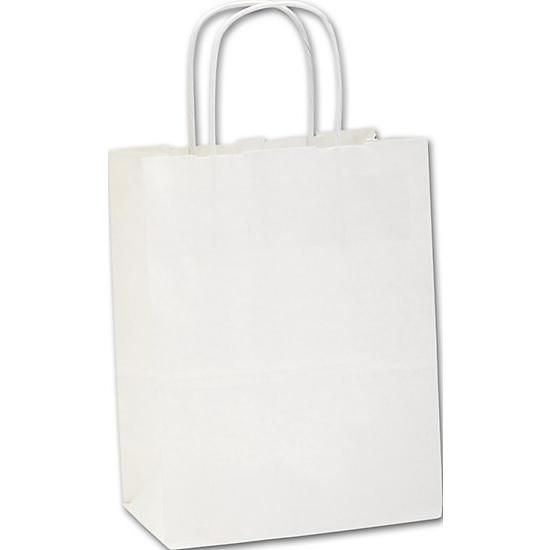 [Image: Recycled White Kraft Paper Shopping Bags Cub, Retail Bags]