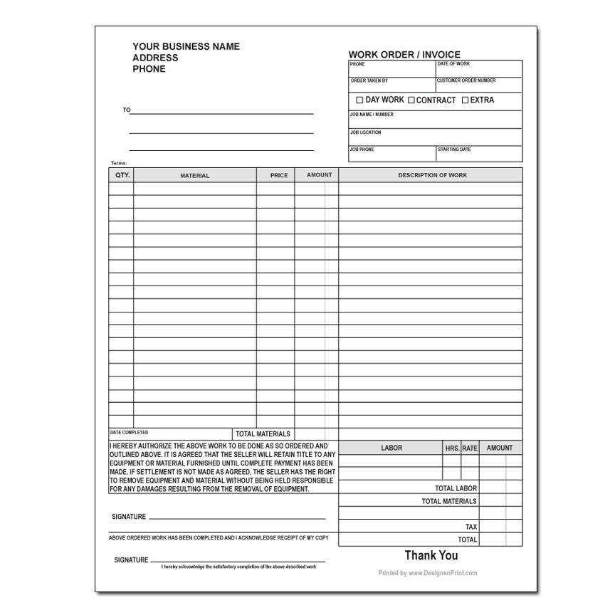 Custom Work Order Forms  Product Order Form Template