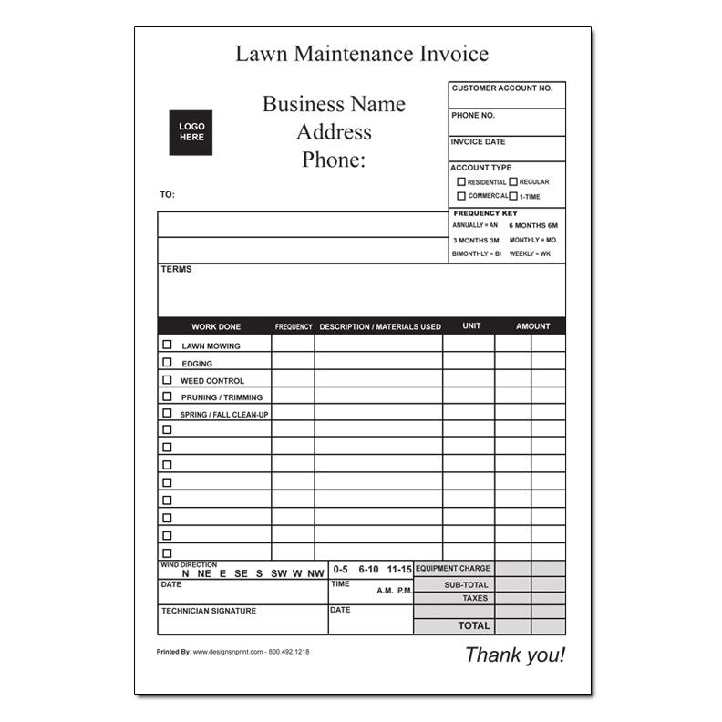 Captivating LANDSCAPING INVOICE Intended For Lawn Care Invoices