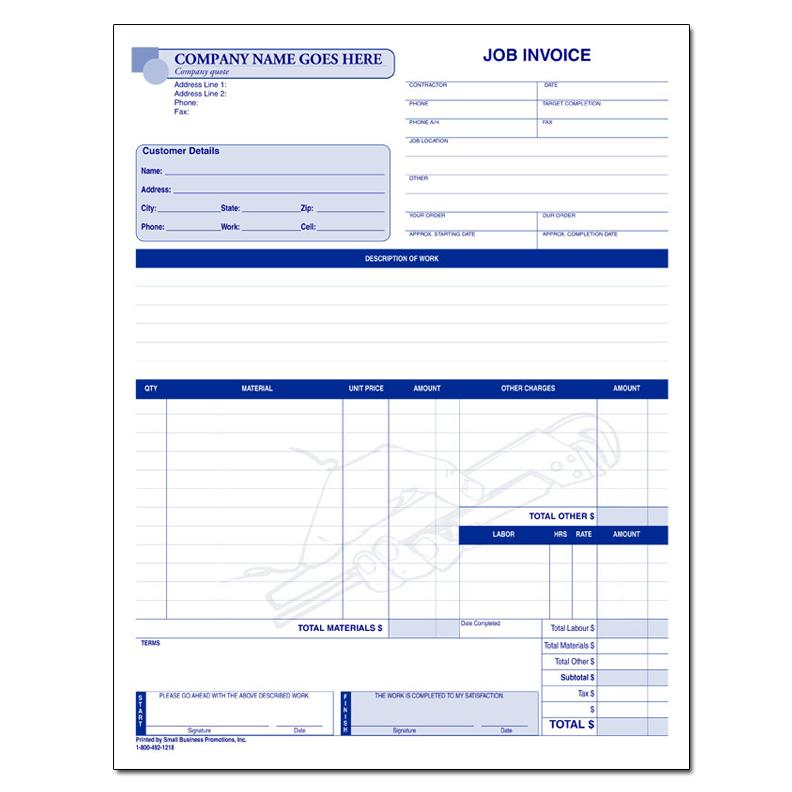 [Image: Carbonless Job Invoice Form]