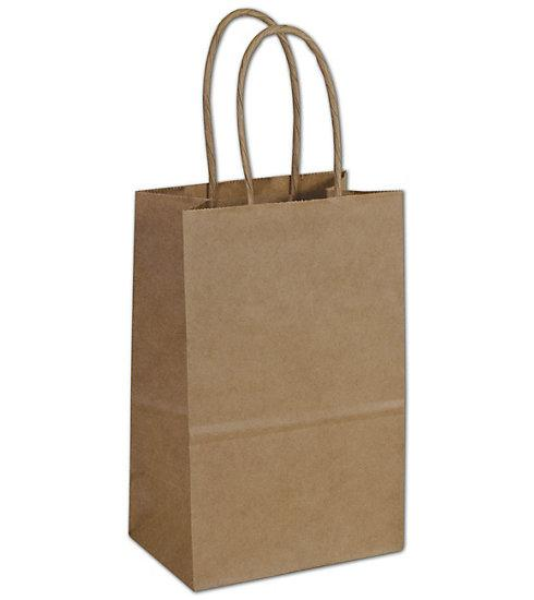 [Image: Kraft Paper Shoppers Mini Cub Bags With Handle]