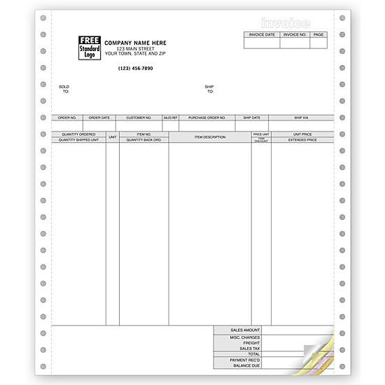 [Image: Classic Continuous Computer Invoice Forms]