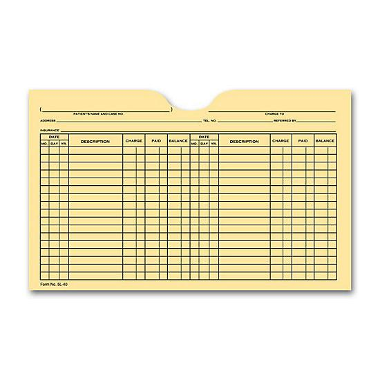 [Image: Printed Card File Pocket, Double Column, Buff]